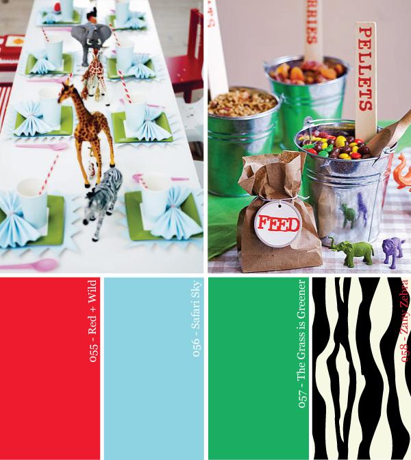 safari-zoo-party-paleta de cores-verde-azul-vermelho-zebra-de impressão