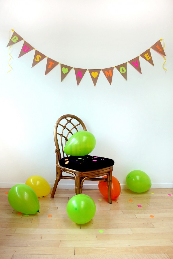 DIY Neon and Kraft Bunting
