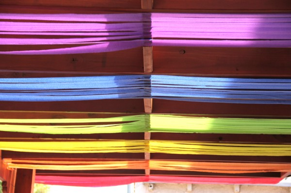 DIY Rainbow Birthday Party Ceiling