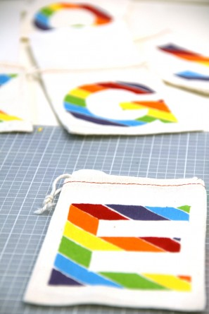 DIY Rainbow Monogram Treat Bags with Freezer Stencils