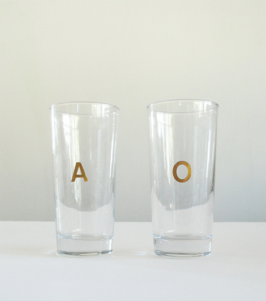 DIY Gilded Monogram Glasses