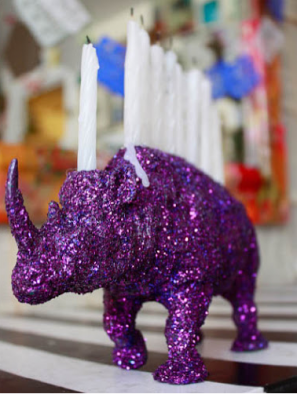 DIY Glitter Animal Menorah