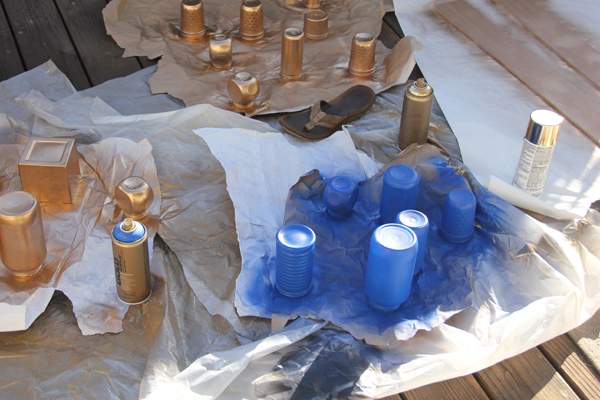 Spray Painting Glass Jars