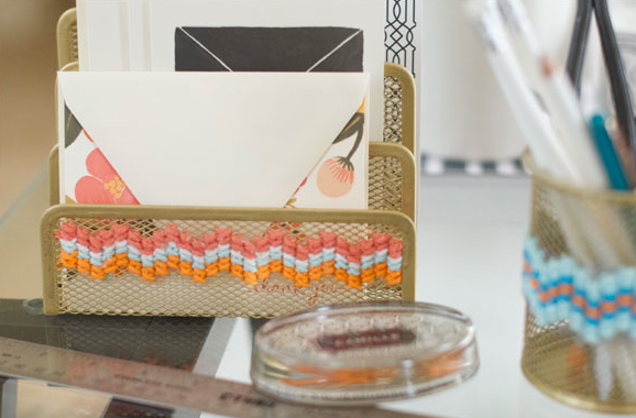 DIY Cross Stitch Office Supplies