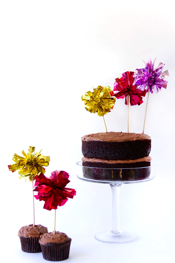 DIY Fringe Mylar Cake and Cupcake Toppers