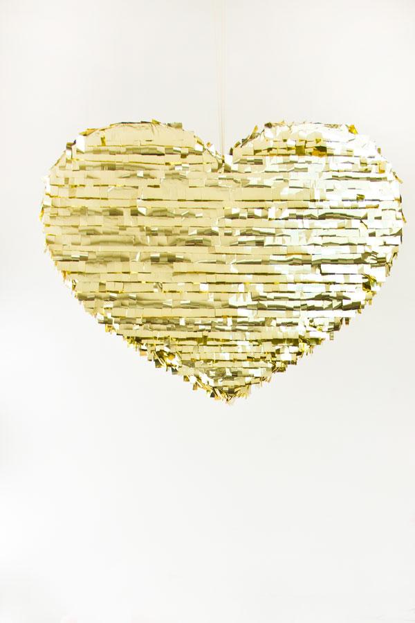 DIY Mylar Fringe Heart Pinata