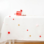 DIY Pom Pom Tablecloth for The Sweetest Occasion