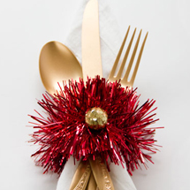 DIY Tinsel Napkin Rings