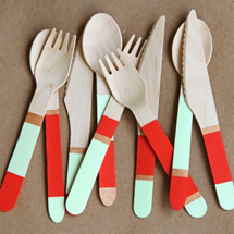 DIY Color Blocked Wooden Cutlery