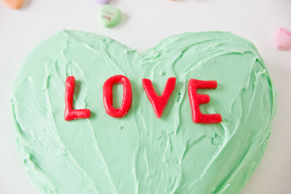DIY Conversation Heart Cake