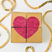 DIY Glittery Block Puzzle Valentines