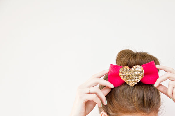 DIY Sequin Heart Hair Bow