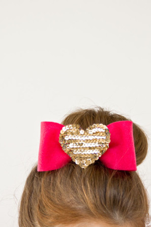 DIY Sequin Heart Hair Bows