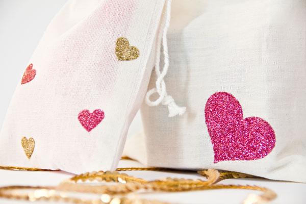 Freezer Paper Stencil Glitter Hearts