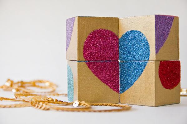Glitter Block Puzzle Valentine DIY