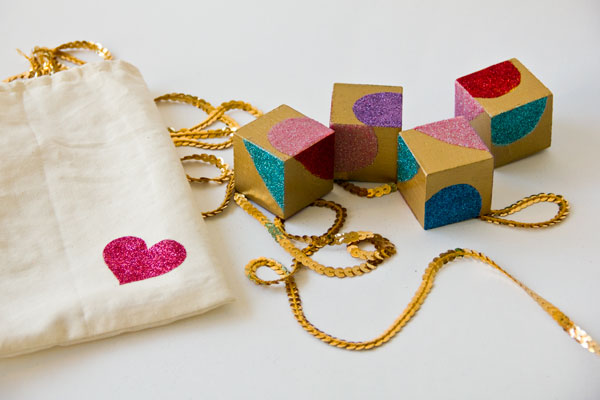 Glittery Wooden Block Puzzle Valentines