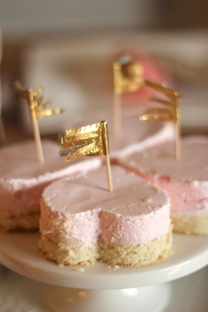 Pink Marshmallows and Gold Flags