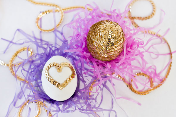 DIY Sequin Heart Eggs for Easter