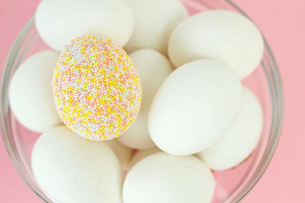 DIY Sprinkle Covered Easter Eggs