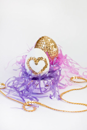 Sequin Heart Easter Eggs DIY