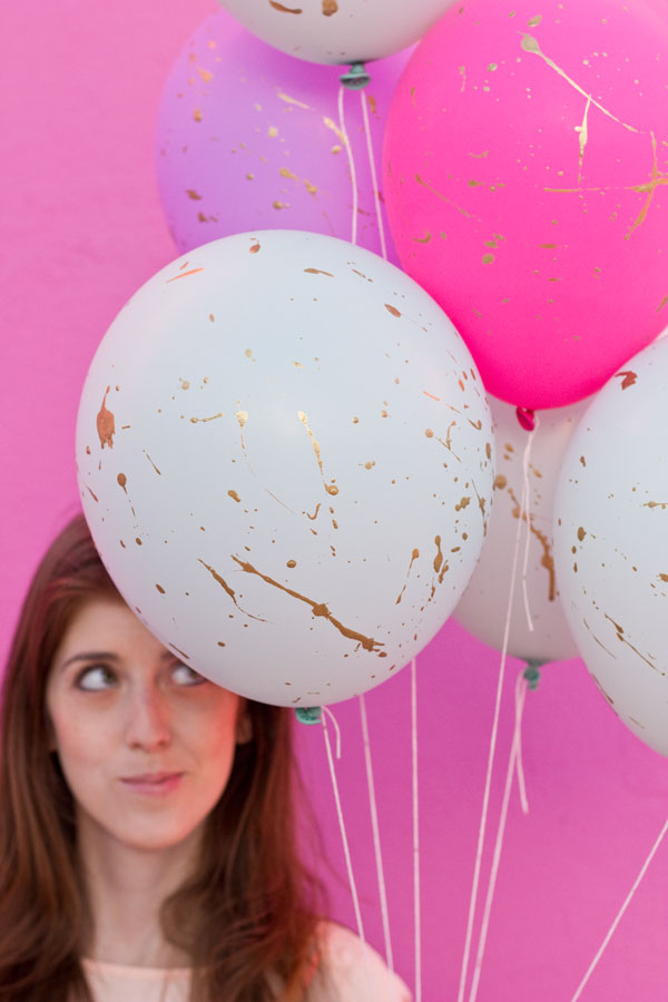 DIY Gold Splatter Balloons