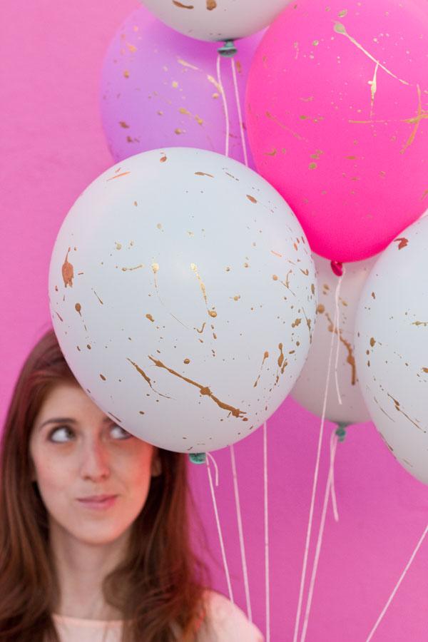 DIY Gold Splatter Balloons