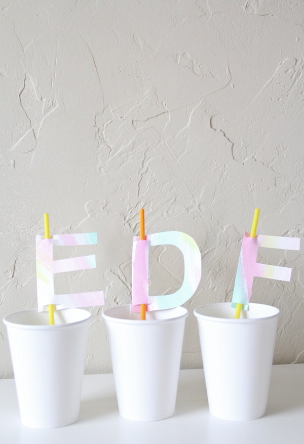 DIY Watercolor Monogram Straw Toppers