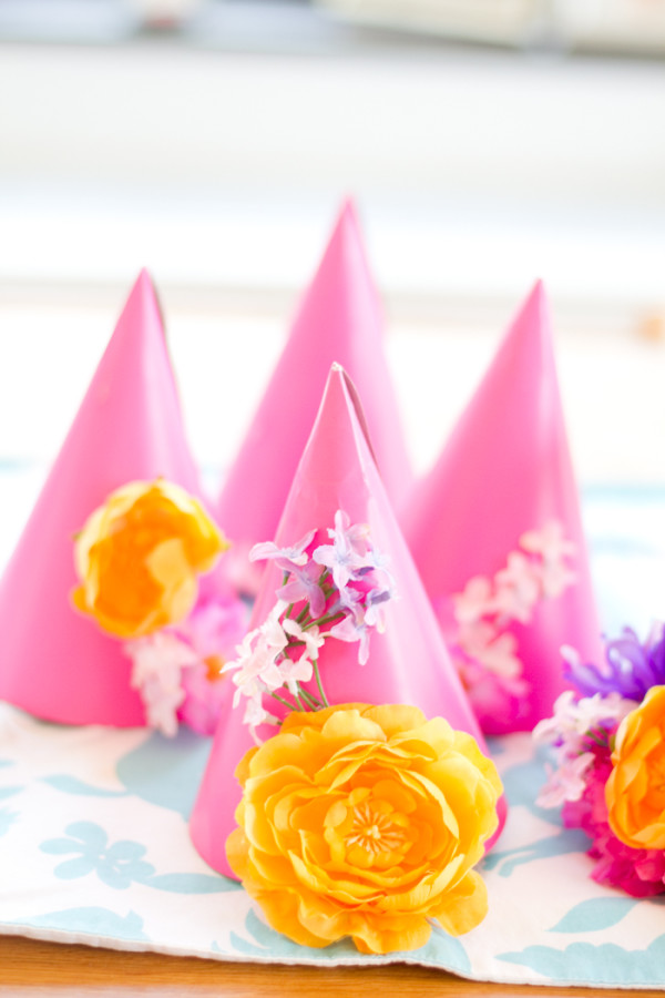 Faux Flower Party Hats