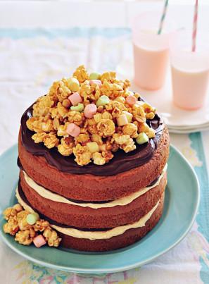 Popcorn Topped Layer Cake