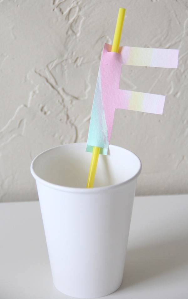 Watercolor Monogram Straw Topper DIY