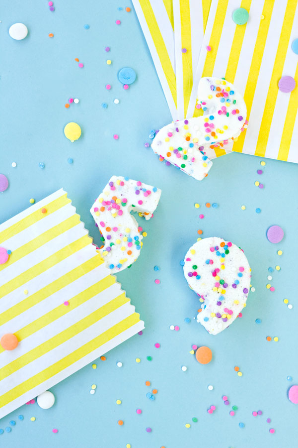 Confetti Marshmallow Number Favors
