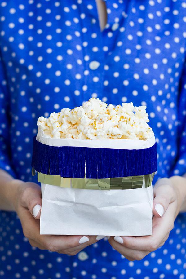 DIY Fringe Popcorn Bags