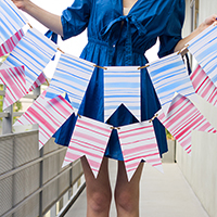 DIY Watercolor Stripe Bunting for The Sweetest Occasion