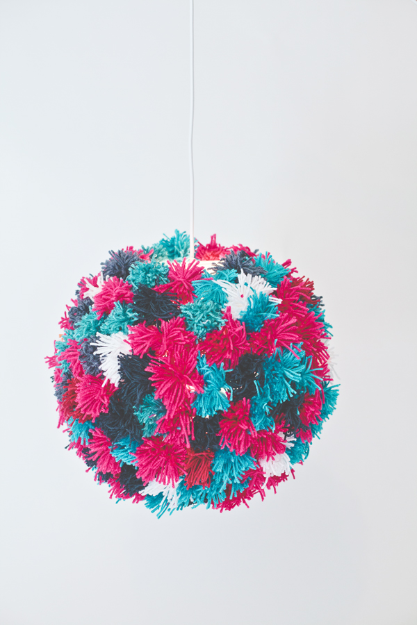 DIY Yarn Pom Pendant Light