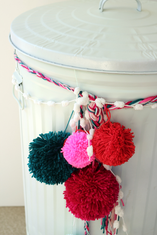 DIY Yarn Pom Trash Can Makeover