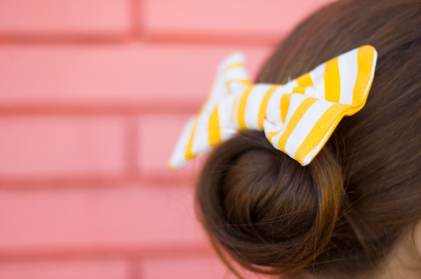 Striped Hair Bow and Bun