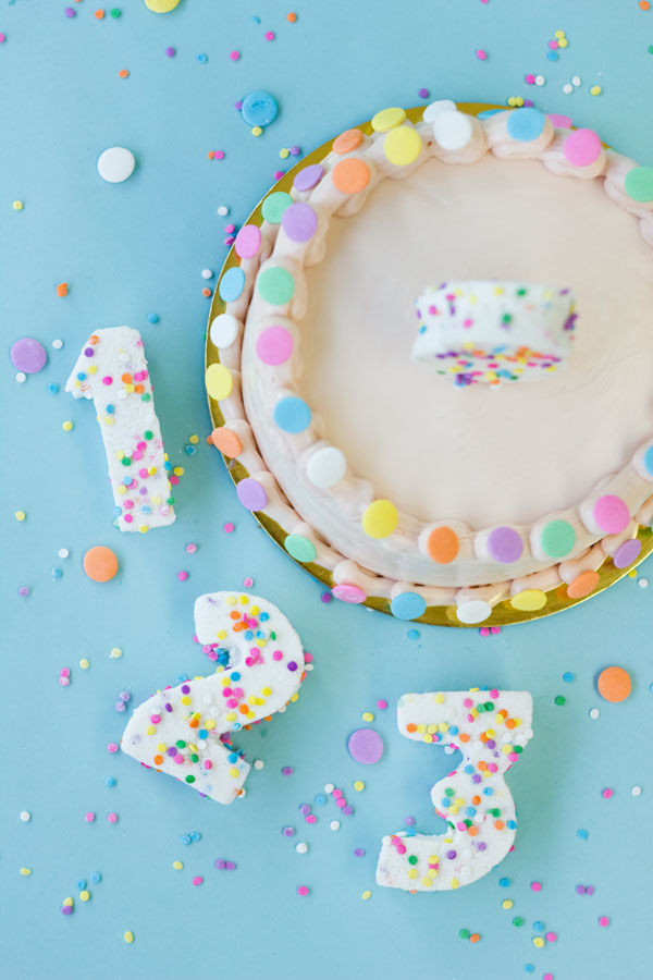 DIY Confetti Marshmallow Numbers