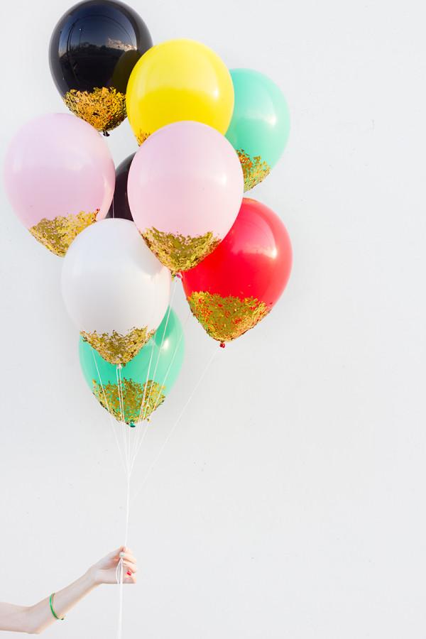 DIY Confetti Dipped Balloons