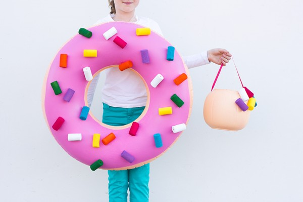 DIY Donut Costume and Donut Hole Treat Bucket