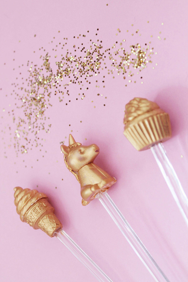 DIY Gilded Novelty Eraser Drink Stirrer