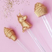 DIY Gilded Novelty Eraser Drink Stirrers