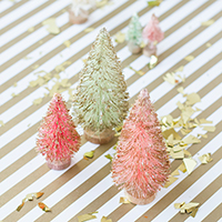 DIY Gold Dipped Bottle Brush Trees