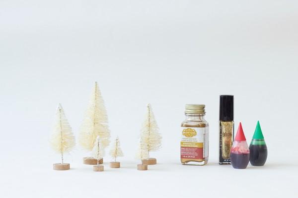 DIY Gold Dipped Bottle Brush Trees