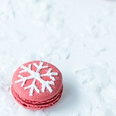 Snowflake Stenciled Macarons