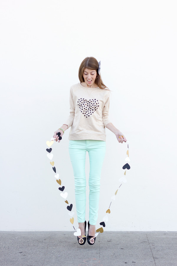 DIY Jeweled Heart Sweatshirt