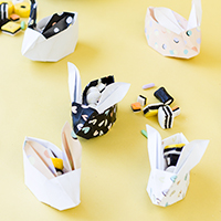 DIY Origami Easter Bunny Baskets (Free Printable!)