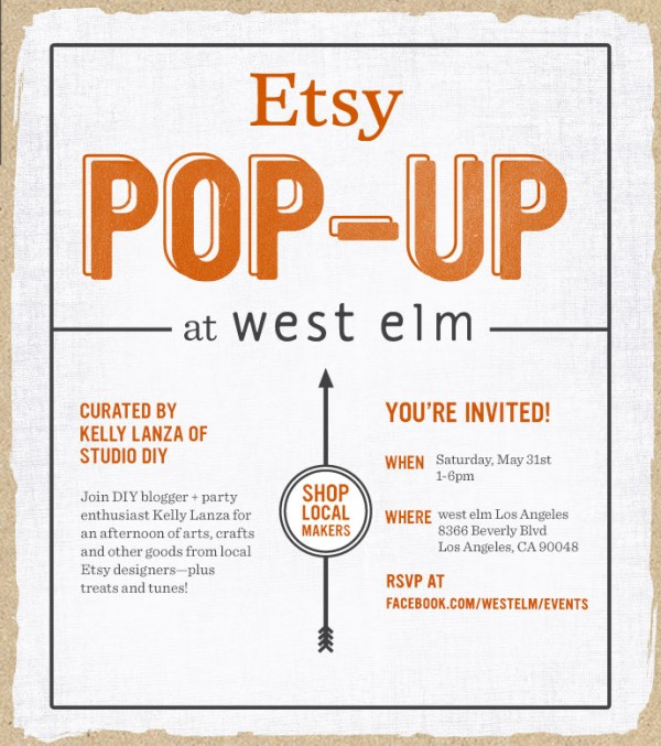 LA Etsy Pop-up at West Elm Curated by Studio DIY