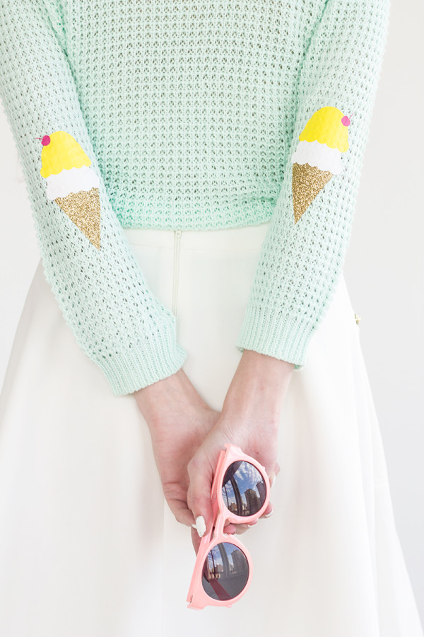 DIY Ice Cream Cone Elbow Patches
