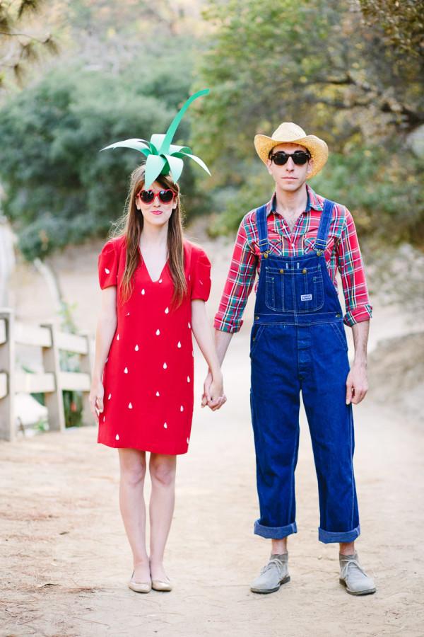 DIY Strawberry + Farmer Couples Costume