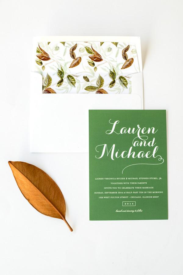 Fall Wedding Invitations + Free Printable Envelope Liner